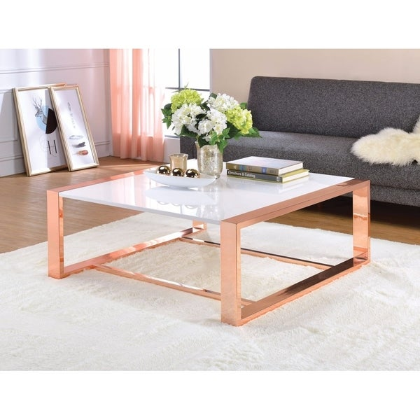 Annika White Gloss Coffee Table: Shop Charming Coffee Table, White High Gloss & Copper