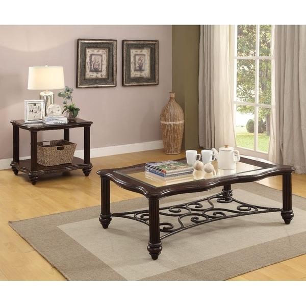 Elegant Coffee Table Dark Walnut Clear Gl