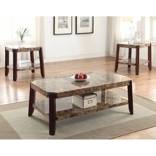 Modish Coffee Table, Faux Marble & Brown