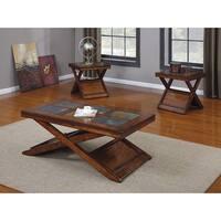 Benicia Coffee/End Table Set, Dark Oak, Slate- Pack of 3 Piece