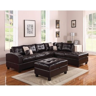 Benzara Espresso Brown Leather Sectional Sofa With 2 Reversible Pillows