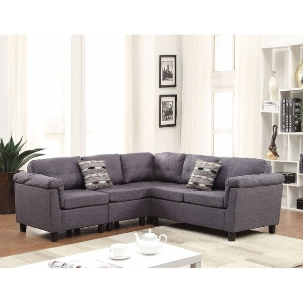 Elegant Sectional Sofa With 2 Pillows Reversible Gray Linen