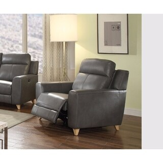 Cayden Recliner (Power Motion), Gray Leather-Aire Match