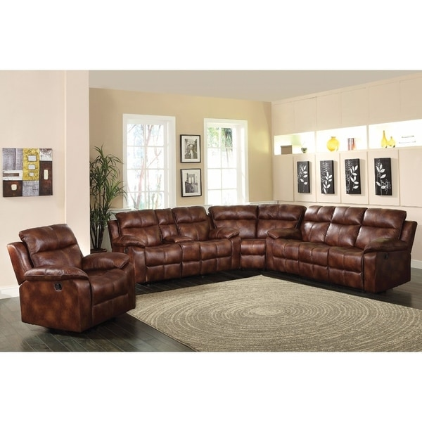 Merveilleux Bonded Leather Sectional Sofa, Light Brown