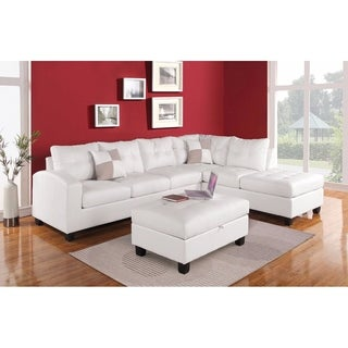 Stylish Sectional Sofa with 2 Pillows (Reversible), White