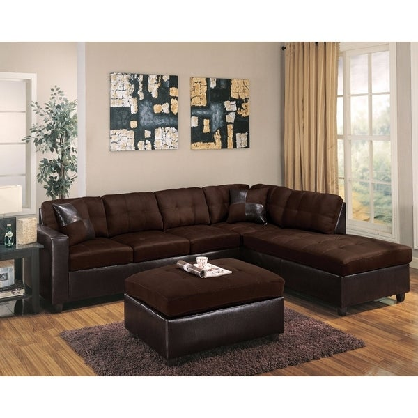 Superior Sectional Sofa With 2 Pillows (Reversible), Chocolate Brown