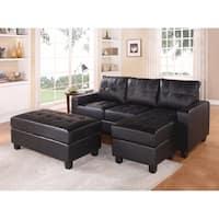 Modish Sectional Sofa With Ottoman, 3 Piece Set, Black
