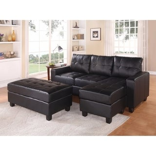 Modish Black Leather 3-piece Ottoman Sectional Sofa