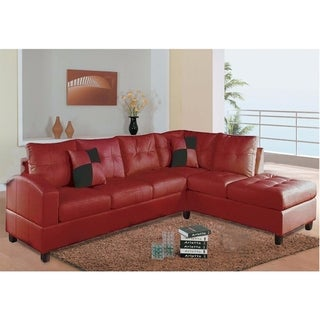 Wooden Sectional with Leatherette Upholstery, Pack of Two, Red