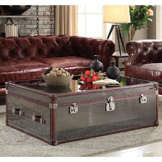 Enchanting Coffee Table, Vintage Dark Brown Top Grain Leather & Stainless Steel