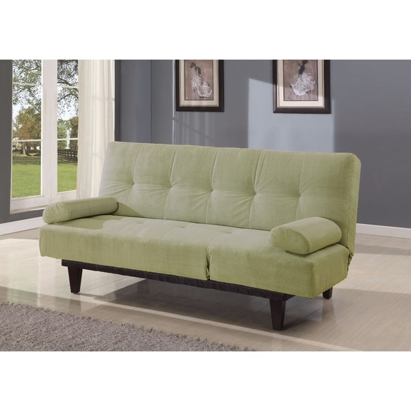 Cybil Adjustable Sofa With Two Arm Pillows, Apple Green, Microfiber