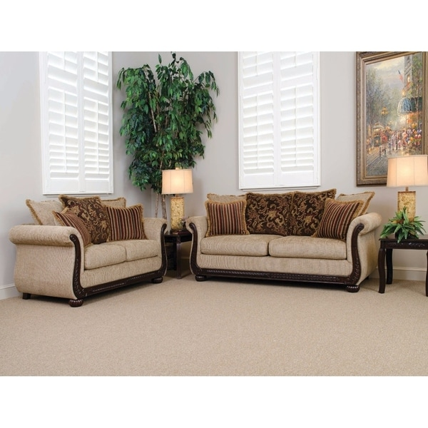 Smart Sofa With 6 Pillows, Beige And Brown