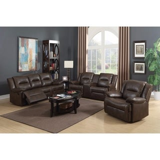 Benzara Brown Faux Leather Reclining Sofa