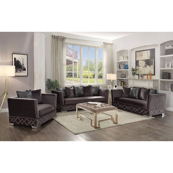 24 Living Room Furniture Free Delivery Living Room: Shop Stylish Sofa With 5 Pillows, Charcoal Velvet