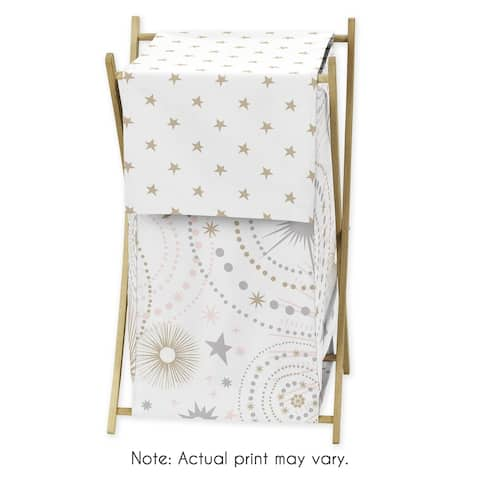 Sweet Jojo Designs Blush Pink, Gold, Grey and White Star and Moon Celestial Collection Laundry Hamper