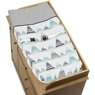 Link to Sweet Jojo Designs Changing Pad Cover for the Grey and Aqua Mountains Collection Similar Items in Child Safety