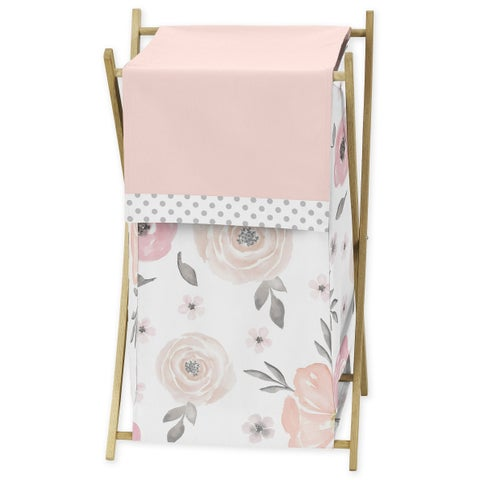Sweet Jojo Designs Blush Pink, Grey and White Watercolor Floral Collection Laundry Hamper