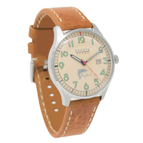 Dakota Mens Classic Angler Watch with Leather Band