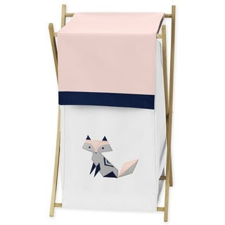Sweet Jojo Designs Navy Blue, Pink, and Grey Woodland Fox Collection Laundry Hamper