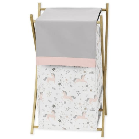 Sweet Jojo Designs Pink, Grey and Gold Unicorn Collection Laundry Hamper