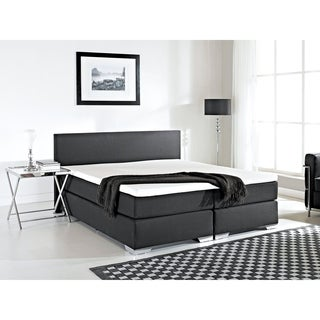 Beliani Black Fabric King Bed