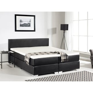 Beliani Black Faux Leather Queen Continental Bed