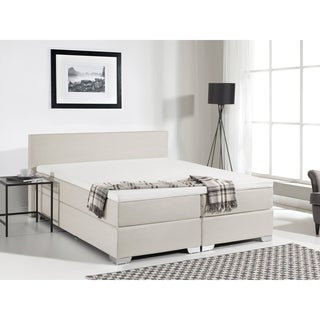 Beliani Continental Beige Fabric Queen Bed