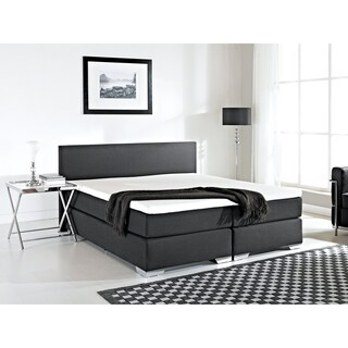 Beliani Fabric Queen Continental Black Upholstered Bed
