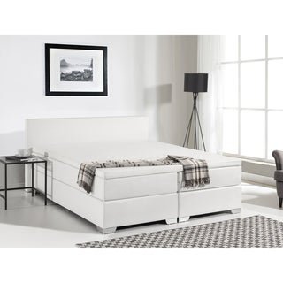 Continental White Leather Queen Bed