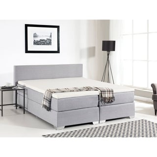 Beliani Continental Light Grey Fabric King Bed