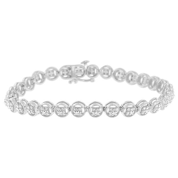 Shop Sterling Silver 0.25ct TDW Diamond Circle Frame Tennis Bracelet ...