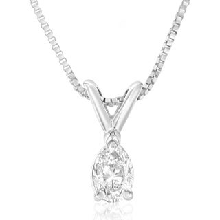 14k White Gold 1/5ct TDW Pear Diamond Solitaire Pendant Necklace (H-I,VS1)