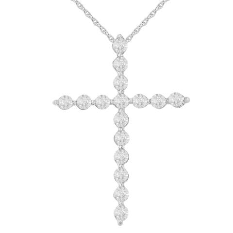 Sterling Silver 0.15ct TDW Diamond Cross Pendant (I-J,I2-I3-Promo)