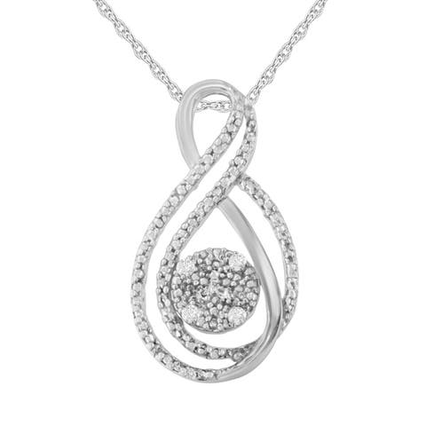Sterling Silver 0.05ct TDW Rose Cut Diamond Double Infinity Layered Pendant (I-J,I2-I3)