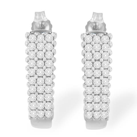 Sterling Silver 1ct TDW Rose Cut Diamond J Shape Hoop Earrings (I-J,I3-Promo)
