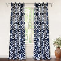 DriftAway Abigail Trellis Room Darkening Grommet Top Window Curtain Panel Pair