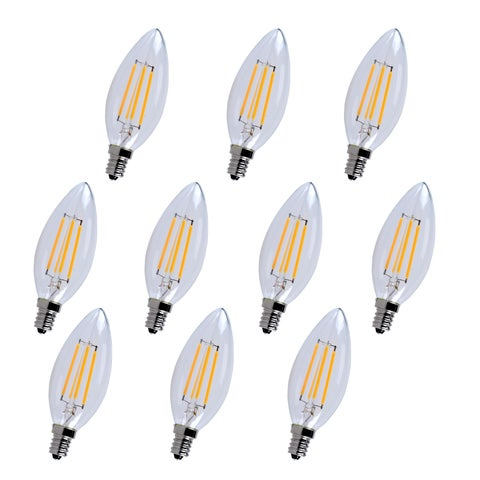 Led e12 candelabra, 3000k, 300°, cri80, es, ul/cul, 4w, 40w equivalent, 15000hrs, lm300, dimmable,input voltage 120v 10 pack