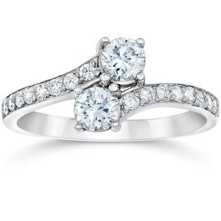 Bliss 14k White Gold 1 1/2 ct TDW Diamond Two Stone Engagement Wedding Ring