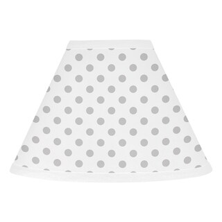 Sweet Jojo Designs Grey and White Polka Dot Watercolor Floral Collection Lamp Shade