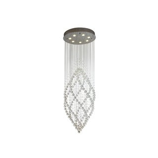 Cascade Rainfall Chrome-finished Steel and Clear Crystal Glass 50-watt 7-light LED Chandelier