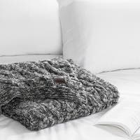 South Shore Lodge Gray Cable-Knit Throw