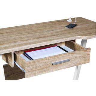 OneSpace Basics 50-LD02OK Desk with Drawer and Dual USB Charging Station, Oak
