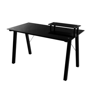 OneSpace Simply Glass Black Glass/Metal Desk With Desktop Printer Stand and USB & A/C Charging Station