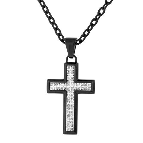 Mens Black IP Stainless Steel 1/4 cttw Diamond Cross Pendant