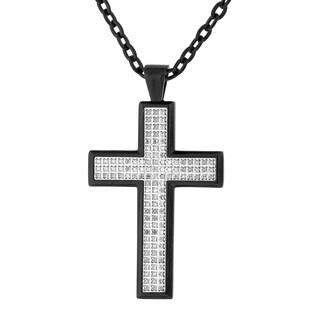 Mens Black IP Stainless Steel 1/2 cttwDiamond Cross Pendant