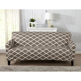 Home Fashion Designs Tori Collection Diamond Printed Form Fit Stretch Sofa Slipcover
