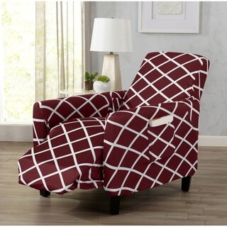 Tori Collection Form Fitting Stretch Diamond Printed Recliner Slipcover