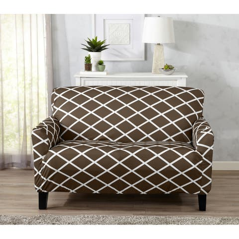 Home Fashion Designs Tori Collection Diamond Printed Form Fit Stretch Loveseat Slipcover