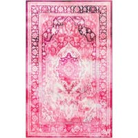 Copper Grove Parsa Traditional Distressed Floral Pink Area Rug - 5' x 8'
