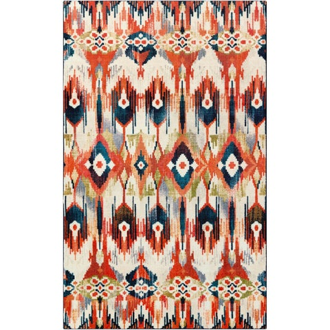Silver Orchid Hinding Multicolor Ikat Area Rug